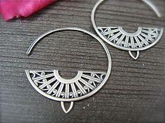deco hoops ... sterling silver earrings by sirenjewels on Etsy, $65.00