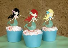 Mermaid Party Cupcake Toppers by PaperCircus on Etsy