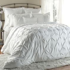 white pintucked bedding - all six pieces