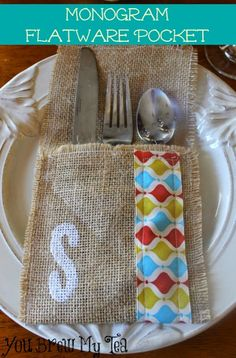 Check out this grea tMonogram Flatware Pocket! Made from Burlap and easy to stamp and personalize for each place setting!