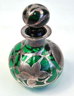 """Alvin Green Glass Sterling Silver Overlay Perfume Bottle 6""""   eBay"""
