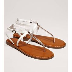 AEO Shine T-Strap Sandal ($25) ❤ liked on Polyvore featuring shoes, sandals, rose gold, t strap shoes, american eagle outfitters, adjustable shoes, strap sandals and t-bar shoes