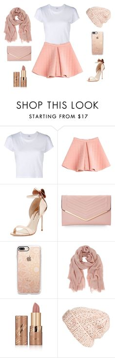 """""""cute girly light pink outfit"""" by breanna-holler on Polyvore featuring RE/DONE, Marina Hoermanseder, Sophia Webster, Sasha, Casetify, Mint Velvet, tarte and Free People"""