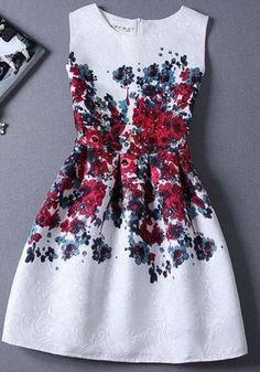 Florals Jacquard Red A-line Dress - Trendslove
