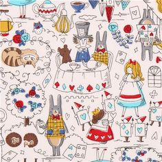 white Alice in Wonderland doodle oxford fabric by Kokka from Japan