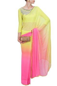 Yellow and pink shaded sari with sunray blouse BY NAMRATA JOSHIPURA. Shop now at perniaspopupshop.com