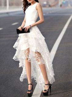Layered Lace Prom Dress,Bodice Prom Dress,White Prom Dress,Fashion Prom Dress,Sexy Party Dress, 2017 New Evening Dress