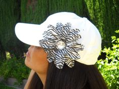 Women's White Low Profile Baseball Cap with Brown n White Zebra Print TropicalFlower. $12.50, via Etsy.