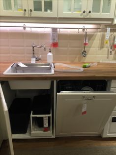 IKEA - DOMSJO inset single sink w/ dishwasher next to it Space for recycling/bin & access to pipes/gas/water metre