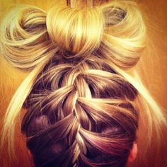 cute hair.. Bow bun and braid