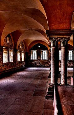 Cloisters is an open courtyard near the church that is enclosed and could be entered from other other buildings.