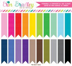 Slim Flags Clipart – Erin Bradley/Ink Obsession Designs