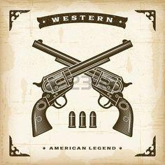 western background: Revolvers occidentaux Vintage Illustration