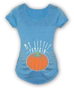This Carolina Blue 'Little Pumpkin' Maternity Scoop Neck Tee - Women is perfect! #zulilyfinds