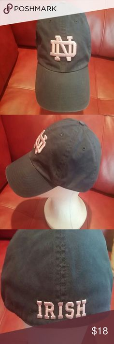 Notre Dame Pink and Blue Cap Pink lettering faded wash fitted Cap Accessories Hats