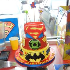 Here is one view of Caleb's 4th bday cake with the DC Comics Justice League characters.  :-)