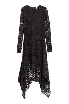 Black High & Low Floral Lace Maxi Dress