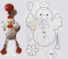 can make some like this with string hanging out of bottom with letters which spells names Felt Diy, Felt Crafts, Felt Christmas, Christmas Crafts, Baby Dekor, Sewing Crafts, Sewing Projects, Chicken Quilt, Chicken Crafts