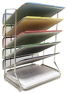 6-Tray Office Desk Organizer, Platinum Mesh - casa.com