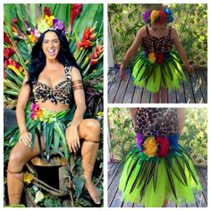 My easy no sew diy version of Katy Perry's Roar costume for my 5 yr old. All we need is a black wig!