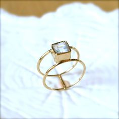 Aquamarine Double Band Square Cut 6mm Gold by illuminancejewelry