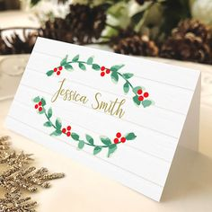 Free Christmas place card, DIY Christmas decor, Printable Christmas place card, Place card template, instant download