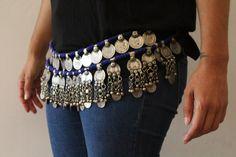 cinturon etnico boho tribal monedas belt kuchi por azulcasinegro
