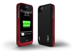 UNU EXERA MODULAR BATTERY CASE FOR IPHONE 4 4S  (BLACK / RED). Seems to solve the problem of getting more battery without getting a bulky case (all the time).