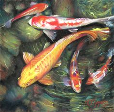 """Koi Mates by Marie Tippets Pastel ~ 6"""" x 6"""""""