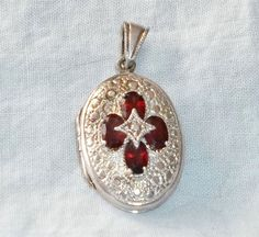 Vintage 925 Sterling Fancy OVAL LOCKET Pendant OPENS! Decorated w 4 RED GARNETS #Unknown #Locket