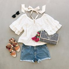 Love the flat lay and outfit! Rebecca Taylor top, Marysol clutch