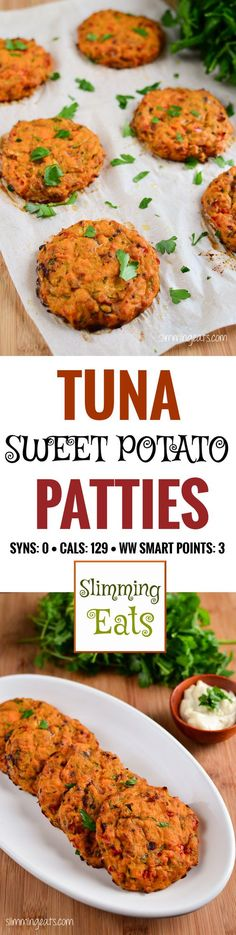 Slimming Eats Tuna and Sweet Potato Patties - gluten free, dairy free, paleo, Slimming World and Weight Watchers friendly paleo lunch tuna Sweet Potato Recipes, Baby Food Recipes, Cooking Recipes, Lunch Recipes, Chicken Recipes, Burger Recipes, Shrimp Recipes, Dessert Recipes, Slimming Eats