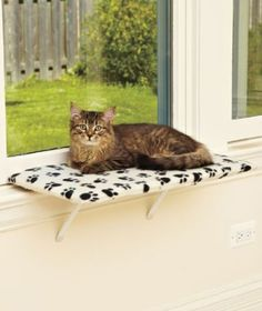 """24"""" Fleece Lazy PET Kitty Cat Window Perch Seat Bed Bench. I need to get a couple of these."""