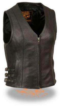 Milwaukee Side Buckle Womens Conceal Carry Leather Motorcycle Vest comes in a solid black color and has triple side adjustment buckles, is made of genuine premium cowhide leather with a full zip up front, two built in conceal carry pocket with holster straps, and a v neck style for the most stylish look.