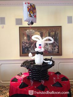 Magic Rabbit in Hat Balloon Centerpiece