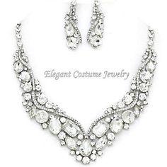 Clear Bridal Crystal Prom Bridemaid Necklace Set Chunky Elegant Wedding Jewelry #ElegantCostumeJewelry #StatementJewelryChunky