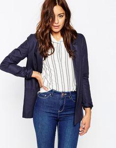 Asos Premium Tailored Linen Blazer #blazer #navy