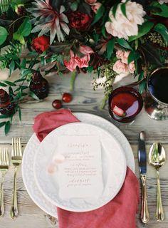 Cranberry wedding tabletop | Lani Elias