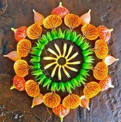 Mandalas creados con flores y hojas por la artista Kathy Klein.