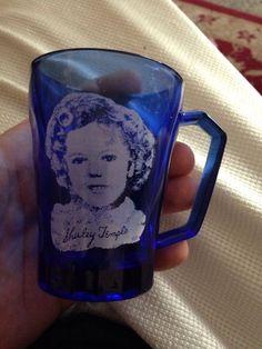 VINTAGE 1930's COBALT BLUE GLASS CUP / SHIRLEY TEMPLE MUG W/ HANDLE / old photo