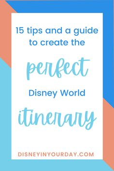 15 tips to create the perfect Disney World itinerary - if you're going to Disney World, you might want a plan. Whether you prefer something simple or detailed, it's good to stay organized! Everyone's approach to vacation is different so it's important to create an itinerary that's right for YOU, not just copy another itinerary you find online. Get the best tips for how to put together your ideal Disney World planner here! Disneyland Food, Disneyland California, Disneyland Paris, Disney Cruise Tips, Disney World Resorts, Disney Vacations, Disney Anaheim, Disney World Planning, Thing 1