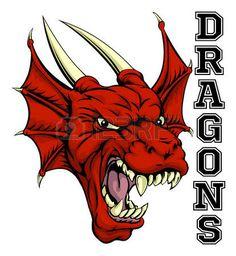 drago: Un esempio di un cartone animato rosso sport drago mascotte della squadra…