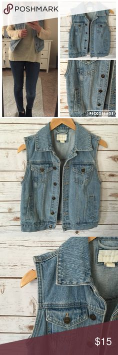 F21 • Denim Vest • Small Go with everything light wash denim vest. Sz small. Preloved, in excellent condition. Forever 21 Jackets & Coats Vests