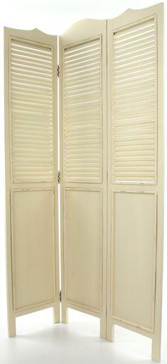 Biały Drewniany Parawan Shabby Chic w Stylu Prowansalskim - 4
