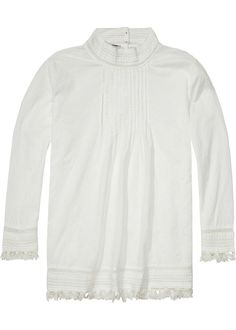 dfa7618cd35 Bluse cremehvid 132617 Embroidered Fringed Top - off white · House Scotch