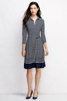 Lands End Womens 3/4-sleeve Matte Jersey Shirtdress - Pattern NOW 25% OFF