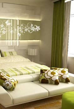 GREEN bedroom: I like the textiles