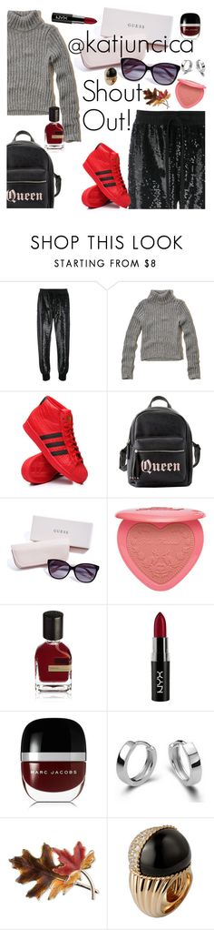 """""""SHOUT OUT! @katjuncica"""" by elliewriter ❤ liked on Polyvore featuring Ashish, Hollister Co., adidas, Charlotte Russe, GUESS, Too Faced Cosmetics, Orto Parisi, NYX, Marc Jacobs and Anne Klein"""