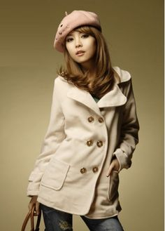 Long Style Winter White Double Breasted Hooded Coat