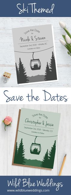 Getting married in the Colorado mountains? Check out these fun gondola wedding save the dates! Your guests will be so excited for the fun they're going to have at your alpine celebration!
